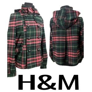 H&M Divided Hooded Coat Women's Size 4 Pink/Multi